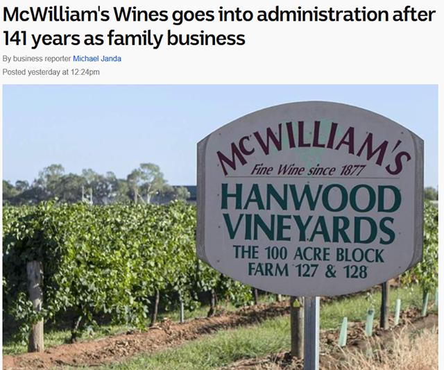 141岁澳第六大葡萄酒公司宣布破产,寻求买家或投资者