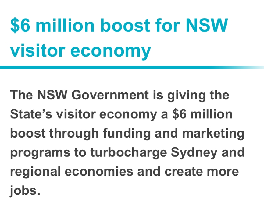 新州政府拟推600万澳元旅游支持计划,吸引全球游客和投资者
